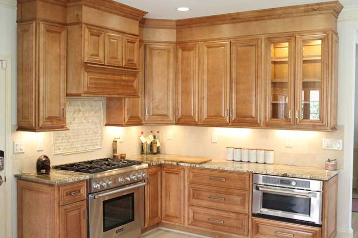 Wooden furniture in kitchen