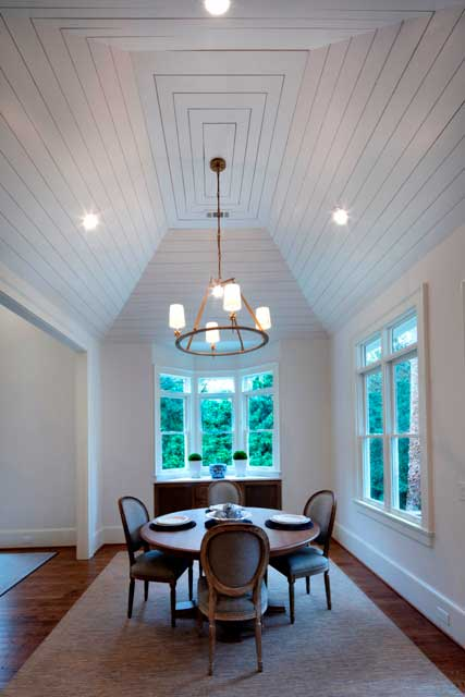 high ceiling dining room renovation